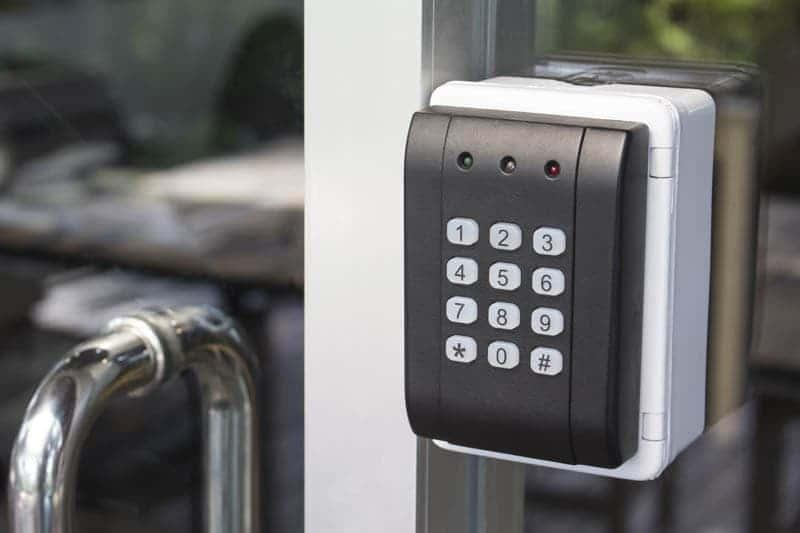 keypad access control on door